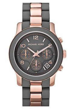 thought to get R a watch for her birthday, & i was randomly thinking a grey + rose-gold one would be nice, but wasn't sure if it existed. turns out, MK (designer of my own coveted watch) makes one. of course he does. Michael Kors, Silicone Runway Chronograph Watch, $225.