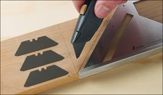 """Accutrax™ Pencil Blades - Made of a graphite composite formed into the shape of standard two-notch utility blades, these leads convert a utility knife into a precision marking pencil. Ideal for scribing lines on lumber or drywall, the 1/32"""" thick blades make a thin, consistent line and never need sharpening."""
