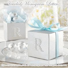 """Jeweled"" Monogram Letters (Set of 24)   Cool and casual, shimmering and elegant, and it's simply the most important letter in your life that day. Dress up a simple favor box, favor jar, invitations and thank-you notes, and watch your monogram glimmer. If there were ever a day to see your name in lights, this is it! Features and facts:    Dazzling crystal monogram letters with clear sticker backing  http://favorcouture.theaspenshops.com/Jeweled-Monogram-Letters.html"
