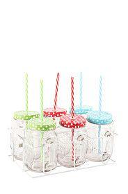 6 PACK GLASS JAM JARS