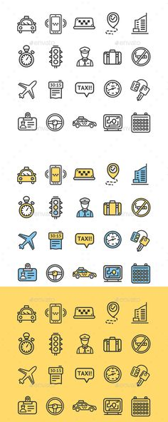 Taxi Services Icon Thin Line Set - Decorative Symbols Decorative Download here : https://graphicriver.net/item/taxi-services-icon-thin-line-set/19645251?s_rank=6&ref=Al-fatih
