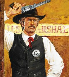 Marshal with his Pistol Cowboy Art, Western Cowboy, Cowboy Pics, Westerns, Tattoo Posters, Marshal Arts, Western Comics, West Art, Cowboys And Indians