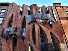 An exhilarating new townhouse at 187 Franklin Street has finally uncovered its twisting brick façade. Positioned within the West Tribeca Brick Facade, Building Facade, Facade Architecture, Townhouse, Paths, Street, Outdoor, Culture, Architecture