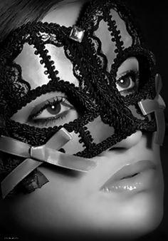 Pink Mask Black Lace Detail