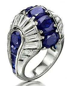 Van Cleef  Arpels An Art Deco Sapphire and Diamond Ring, circa 1938.