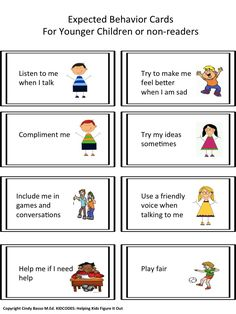 SAMPLE PAGE FROM: KID CODES: Expected vs. Unexpected Activity For Promoting Good Friendships  These are fun and engaging activities to do with children who can benefit from practicing good friendship behaivors. Two sets of cards were made to appeal to both older and younger children