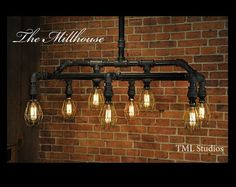 Millhouse - Industrial Plumbing Pipe Edison Light Fixture Chandelier - Steampunk (Etsy) $895