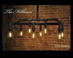 Millhouse - Industrial Plumbing Pipe Edison Light Fixture Chandelier - Steampunk (Etsy) $895