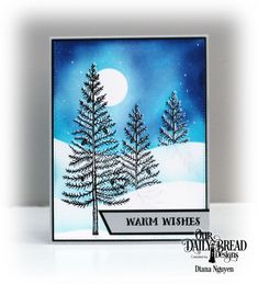 I used Heather Telford's technique of stamping in clear then black and then embossing for snow on my trees.  The background was masked and sponged.