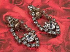 Vintage Blue Rhinestone Earrings Clear Blue by DartmouthHill