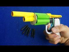 Cómo hacer una pistola de papel que dispara | 6 balas | Con el gatillo - YouTube