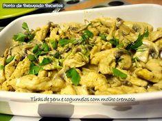 Ponto de Rebuçado Receitas: Tiras de peru e cogumelos com molho cremoso