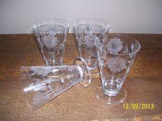 Set of 4 Hughes Cornflower Crystal Footed Table Tumblers