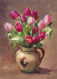 Tulips in a Torquay Rooster Jug - blank greetings card by Anne Cotterill Tulip Painting, Oil Painting Flowers, Watercolor Flowers, Painting & Drawing, Watercolor Art, Art Floral, Flower Photos, Flower Art, Flower Arrangements