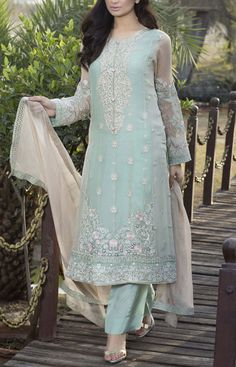 Buy Sea Green Embroidered Chiffon Dress by Baroque 2016