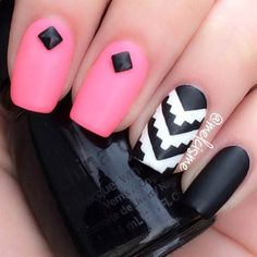 Matte Pink and Black Tribal Nail Design