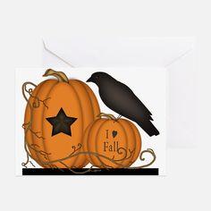 primitive_pumpkin_crow_i_love_fall_greeting_card.jpg (750×750)