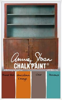 COLORWAYS Stepback Pine Cupboard. Annie Sloan Chalk Paint® color palette. Primer Red, Barcelona Orange, Coco, Provence