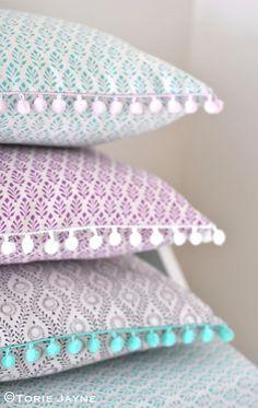 Pom pom trim cushions tutorial by Torie Jayne