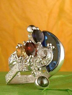 #smykkekunst, #smykker #Kobenhavn, Gregory Pyra Piro Håndlavet Sølv og Guld med Ædelstene Ring Nr. 30303