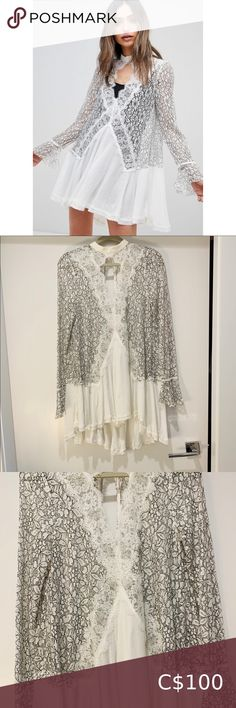 Can be worn as a dress with a white body suit OR as an over lay Free People Dresses Mini Plus Fashion, Womens Fashion, Fashion Tips, Fashion Trends, White Bodies, Free People Dress, Suit, Mini, Lace