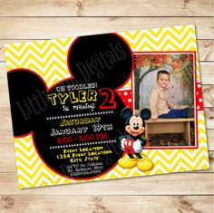 Personalized Mickey Mouse Themed Birthday Party Invitation With Picture - Boy Invitation - Red Yellow Black White Invitation - 5x7 or 4x6