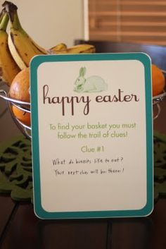Easter egg scavenger hunt- lots of free printables! you can make your own clues, and as many as you want to make it harder or easier! such a fun and cute idea!