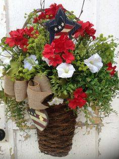 Patriotic wreath patriotic wall basket Memorial by FlowerPowerOhio, $99.99