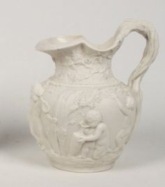 """PARIAN WARE 10.5"""" PITCHER WITH FIGURAL RESERVE"""