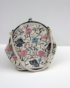 Vintage Floral Micro Beaded Purse Handbag