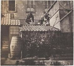 François-Victor (left), Charles (right) and Victor Hugo (middle) at the Hauteville House in Guernsey.    The photo was taken by Auguste Vacquerie.