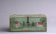 PAINT DECORATED STORAGE BOX IN THE MANNER OF RUFUS PORTER