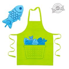 26152 Apron & oven mitt Blue Fin cotton
