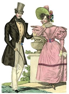 Hats and bonnets of the Romantic Era were magnificent creations overflowing with ruffles and frills, exotic plumes, vivid flowers, and yards of colorful ribbons. Elaborate hair styles were topped by these wide-brimmed creations or the face was framed by the frills of a white ruffled cap. Bonnet trimmings were removed and replaced with ease to create a fresh look for each new dress.