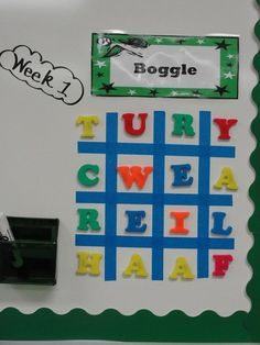 Boggle-with magnetic letters. Fun idea Wonder if I could do this with a table in word or in an excel spreadsheet and have it randomize it somehow.