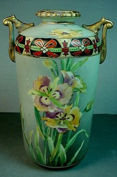 Antique Japanese Morimura Brothers Nippon Porcelain Hand Painted Art Deco Vase