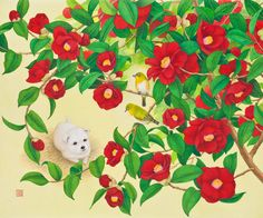 "Youngmi Jeon, ""동백이의 꽃나들이""(2012)_비단에 채색(painting on silk)"