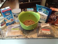 Ingredients in the banana walnut batter: raw almond meal (works as flour substitute), flax meal (works as egg substitute), unsweetened coconut, wheat germ, chia seeds (creates a gelatinous texture when added to liquid and helps bind the ingredients), fresh pureed banana, dates, and walnuts