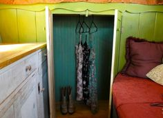 DIY cabover camper interior - under bed storage cupboard