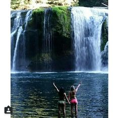 Lewis river falls in the state of washington! Beautiful girls at a beautiful falls!