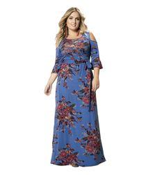 Vestido Longo em Viscose Stretch Azul Floral Wee! Plus Size  #modaplussize #roupasplussize #roupasfemininas #modafeminina #plussize #beline