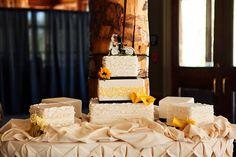 bike wedding cake with four satellite cakes.  yellow and navy wedding colors.  loganwalkerphoto.com
