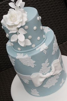 Wedgewood Blue Wedding Cake with White Floral Accents