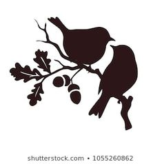 Designs Discover Immagine vettoriale stock 125979461 a tema Pattern Birds Seamless (royalty free) Pare of birds sitting on twig of oak. Bird Stencil, Stencil Art, Stencil Designs, Paint Designs, Stencils, Vogel Silhouette, Flower Silhouette, Silhouette Design, Birds For Kids