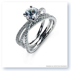 Double row single crossover diamond engagement ring from Mark Silverstein Imagines http://shop.msimagines.com/product-p/2115-18KW.htm