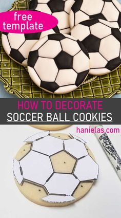 How to Decorate Soccer Ball Cookies with royal icing, using a simple template. [Video] - How to Decorate Soccer Ball Cookies Sugar Cookie Royal Icing, Cookie Icing, Sugar Cookies, Royal Icing Decorated Cookies, Soccer Cookies, Soccer Ball Cake, Fancy Cookies, Cut Out Cookies, Heart Cookies