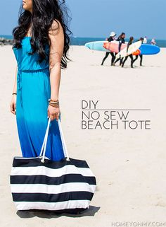 DIY No Sew Beach Tote - Homey Oh My!  I Would sew mine.. lets go to the beach!