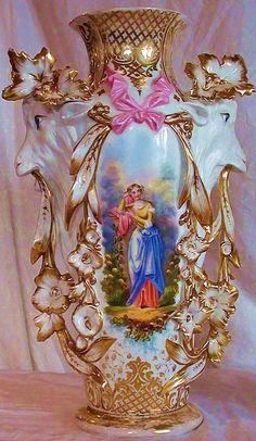 """Museum Quality ~ RARE 1850's Haviland Limoges Model 417 """"Potiche Tête de chèvre"""" Goat Masterpiece Vases""""~ Breathtaking HAND PAINTED WOMEN & ..."""
