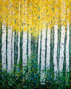 Aspen Birch Trees Original Acrylic Painting on 48 x by VickisArt, $925.00
