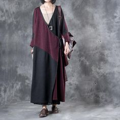 Original Design V-Neck Sweater Dress Purplish Red Loose Autumn Overcoat    #overcoat #sweater #autumn #dress #fall #plussize #fashion #designer